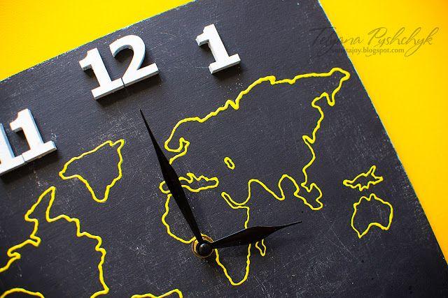 Enjoy your life: Инерьерные часы с картой! Часов много не бывает)!