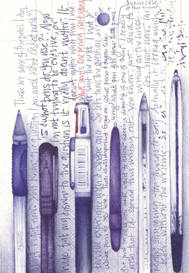 """NADIA: In this example, the designer has made use of biro ink to sketch 6 different types of pens. Then using those specific pens sketched, they have written text alongside each one. It is evident from the various thickness of the handwriting which ink belongs to which pen. The whole idea behind this image was to answer a question the designer is asked most, that is, """"What pens do you use?"""""""