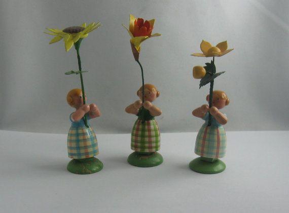 Oude Erzgebirge WEHA bloeien de kunst van de kinderen van Seiffen. 3 bloem…