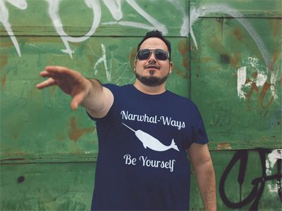 "This ""Narwhal-ways be yourself"" shirt will delight anyone in love with narwhals. With a white graphic of the narwhal and a positive saying in white lettering, this top makes a great gift for lovers of this sea creature.  #narwhal #geek #unicorn #narwhals #shirts #tees #t-shirts #tshirts #geek"