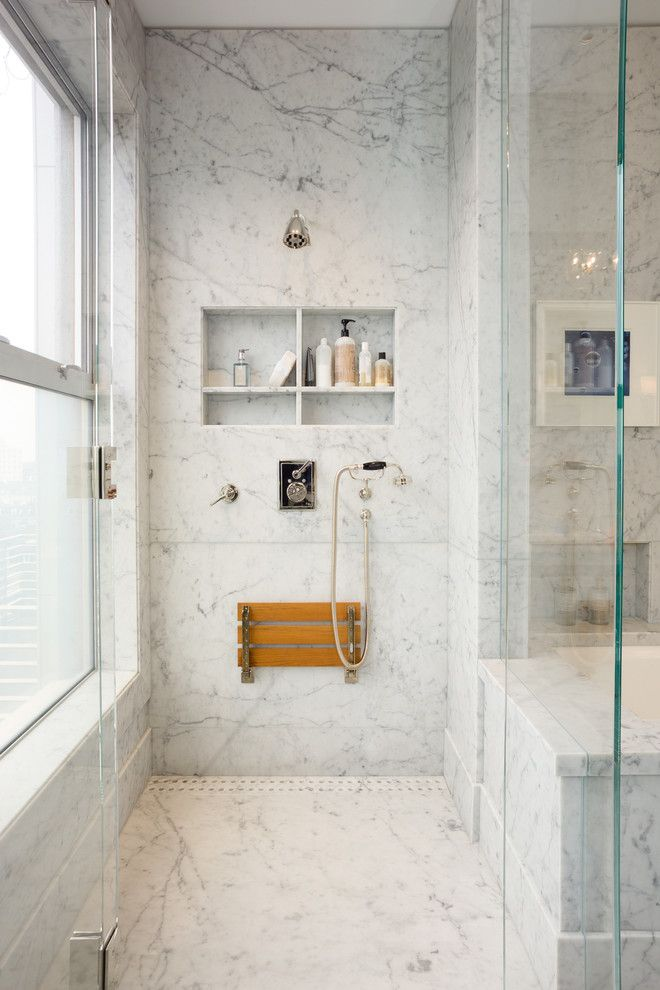 How To Make Shower Niches Work For You In The Bathroom. I hadn't thought of a fold-down bench in the shower, love it!