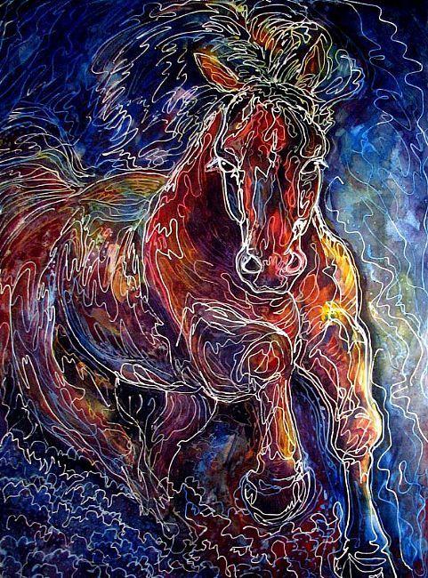 Art: POWERFUL ~ BATIK EQUINE ABSTRACT BATIK by Artist Marcia Baldwin