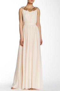 Marchesa Pleated Silk Gown