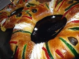 "Rosca de Reyes ""3 Kings Bread"" eaten Jan. 6 for Dia de Reyes ""3 Kings Day"": bread pastry with dried fruit. A figurine of baby Jesus is hidden in the bread, whoever finds the figurine he/she is blessed for that year and must throw a party to celebrate on Feb. 2 for Dia de la Candelaria ""Candlemens Day."""