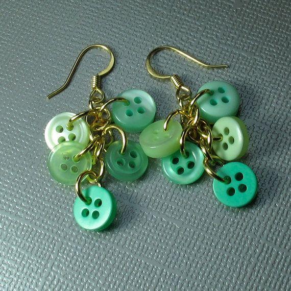 Button Dangle Earrings in Mint Green by BluKatDesign on Etsy