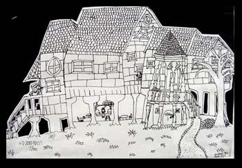 Dream house Drawing (or haunted mansion) - 4-5