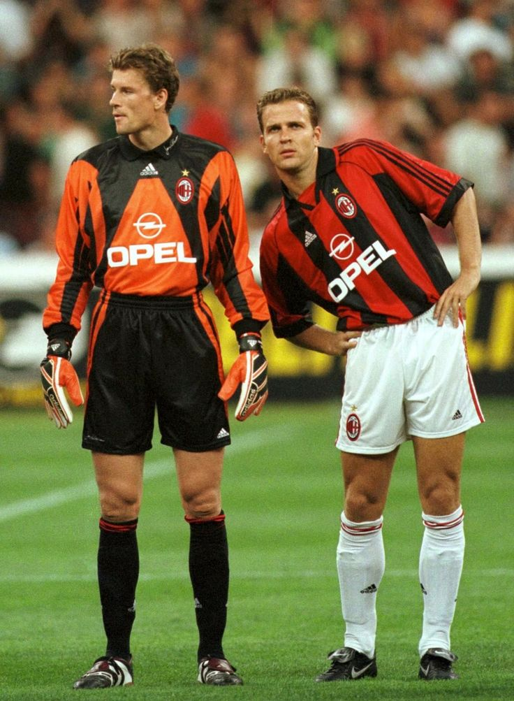 Jens Lehmann (AC Milan, 1998–1999, 5 apps, 0 goal) and Oliver Bierhoff (AC Milan, 1998–2001, 91 apps, 37 goals).