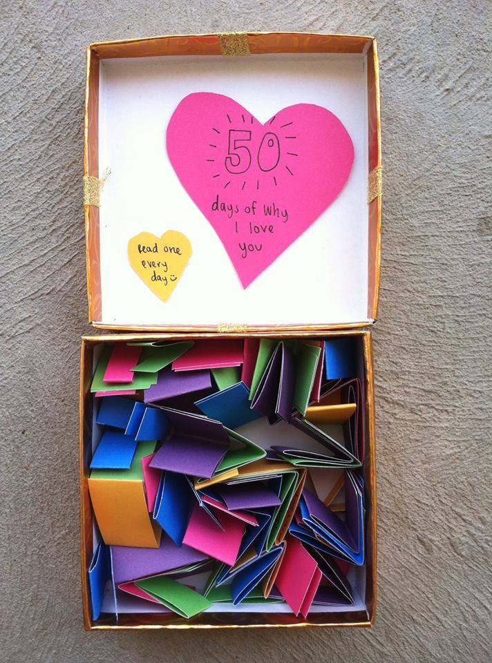 A box full of different reasons you love your man. So cute