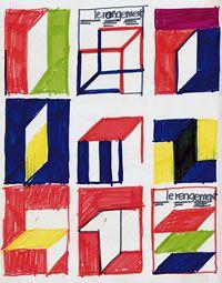 Jean Widmer. Croquis de recherche en couleur pour l'affiche de l'exposition Le rangement, 1974