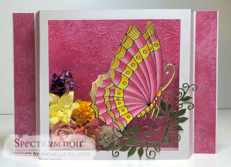 Diorama Card. Designed by Michelle Millsom. Colourista A4 Foiled Pad - Butterfly Garden. Colourista Pencils - All Packs.
