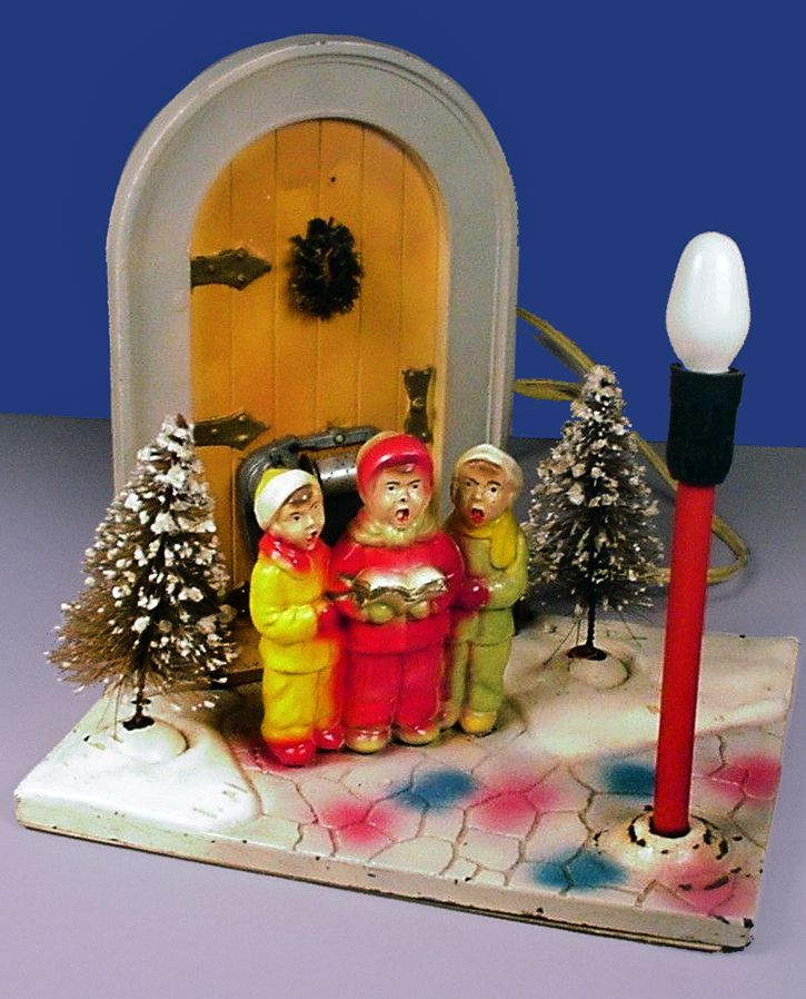 Vintage Electric Christmas Light Music Box Carolers By Glolite