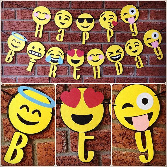 Bannière joyeux anniversaire Emoji / Emojis party