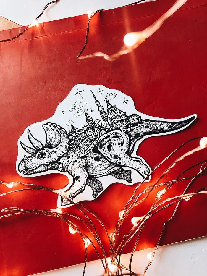 эскизы тату динозавра с городом на спине