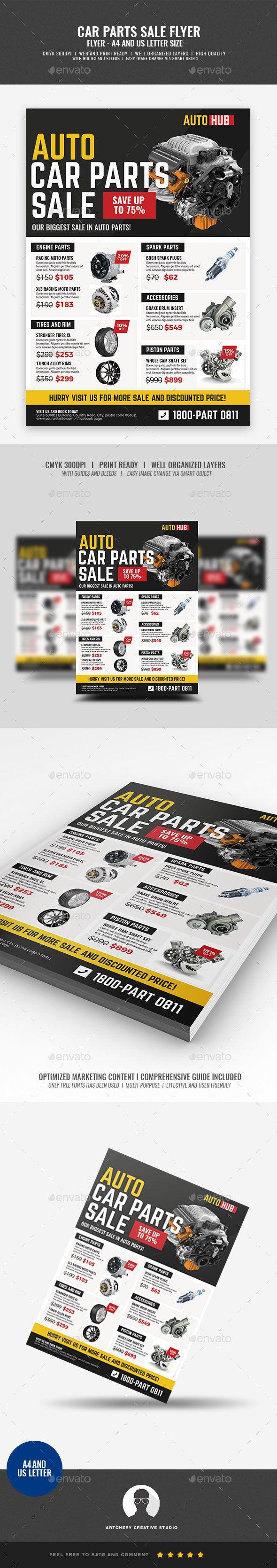 Car Parts Shop Promo Sale Flyer - #Corporate #Flyers
