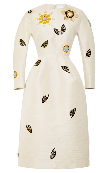 Shop Embellished Woven Sculpted Waist Midi Dress by Delpozo Now Available on Moda Operandi
