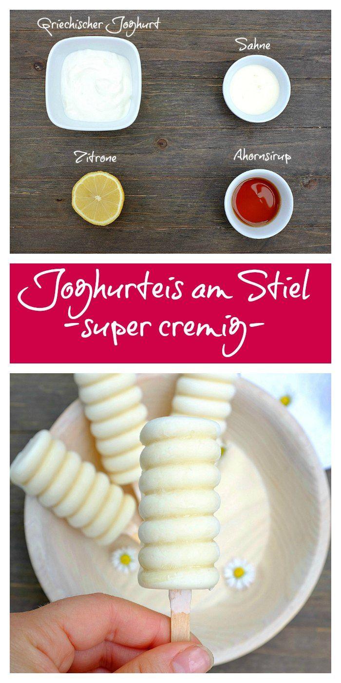 Unser Lieblingseis in diesem Frühjahr -super cremiges Joghurteis aus nur 4 Zutaten. In 5 Minuten zusammengerührt, dann noch einfrieren und genießen! So lecker.