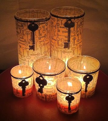 Beautiful glowing key votives. -- like the idea, not sure where we'd put these? Maybe on the back deck during fall/halloween?