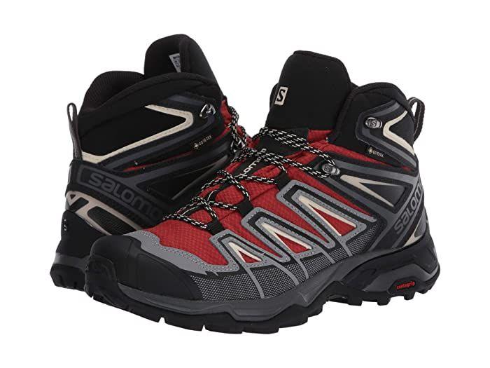 Salomon X Ultra 3 Mid Gtx R Burnt Brick Black Bleached Sand Men S Shoes Lace Into The Salomon X Ultra 3 Mid Gtx Hiking Boo In 2020 Hiking Boots Boots Men Shoes Size