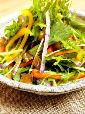 【彩り野菜と干し芋のサラダ】カラフルな野菜に干し芋を入れてちょっと変わったサラダに!柚子胡椒の風味も効いて野菜が進みます〜