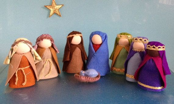 ***FREE POSTAGE IN AUSTRALIA*** THIS LISTING IS FOR 7 NATIVITY DOLLS and BABY JESUS IN A LITTLE BASKET The dolls stand about 9cms tall