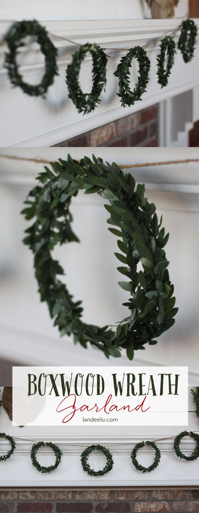 Christmas craft up this darling five boxwood wreath DIY garland in about twenty minute and for only a few dollars! A pretty addition to any Christmas decor!