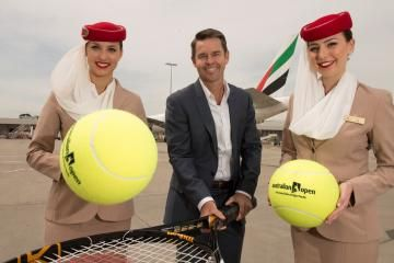 Three-time Australian Open men's doubles champion Todd Woodbridge is pleased about the tournament's new partnership with Emirates Airline. Picture: SDP MEDIA