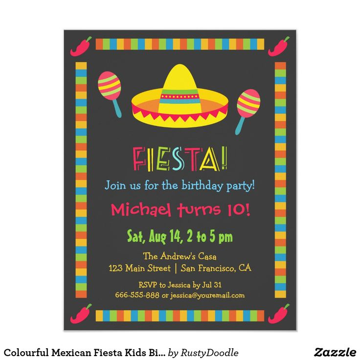 248 best birthday invites kids images on pinterest invites colourful mexican fiesta kids birthday party card filmwisefo