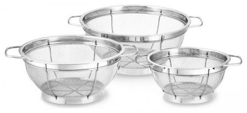 Stainless-Steel 3-Piece Mesh Colander Set traditional kitchen tools/Williams-Sonoma