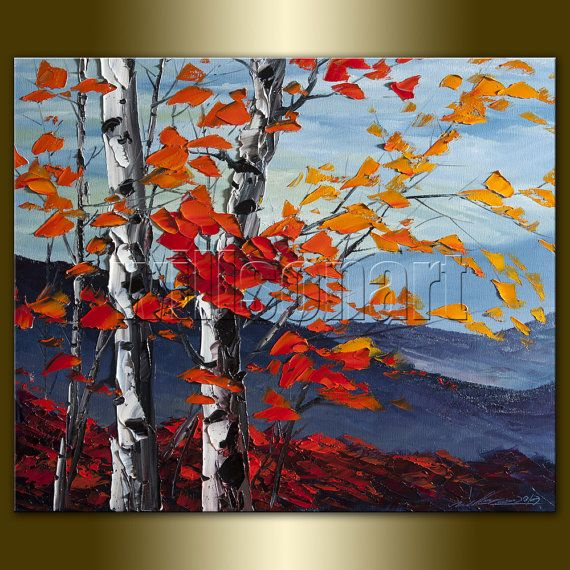 Autumn Birch Landscape Painting Oil on Canvas Textured Palette Knife Modern Original Tree Art 20X24 by Willson Lau