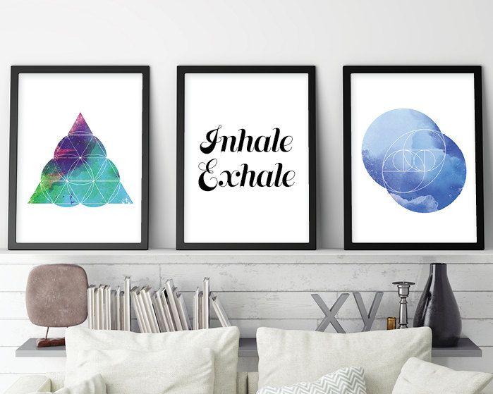 Set of 3 Prints, Art Print Set, Inhale Exhale, Sacred Geometry, Geometric Print, Geometric Art, Geometric Download, Zen, Downloadable Print by UrbanEpiphanyPrints on Etsy