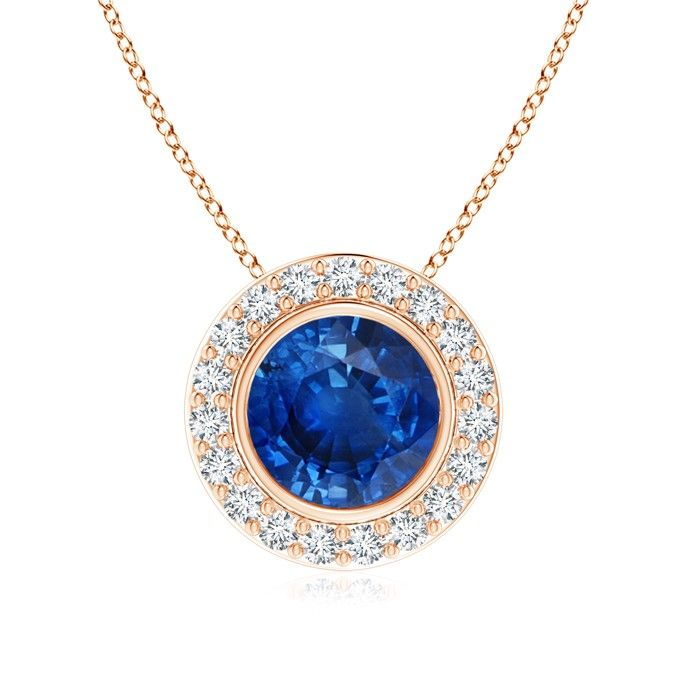 Angara Dangling Natural Sapphire Diamond Halo Pendant in White Gold BLeoq