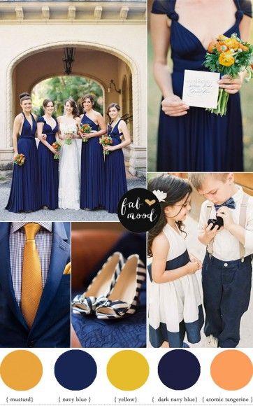fabmood.com | Orange Navy blue and mustard yellow wedding colour palette