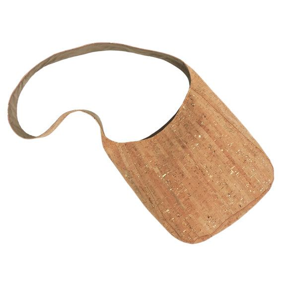 Cork Shoulder Bag, Lightweight Cork Purse, Gold Fleck Cork Crossbody Bag, Vegan Purse, Tan and Gold Bag, Spicer Bags, Made in USA,  Hobo Bag