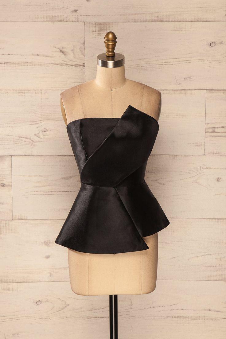 Gizia Noir - Black asymmetrical bustier peplum top