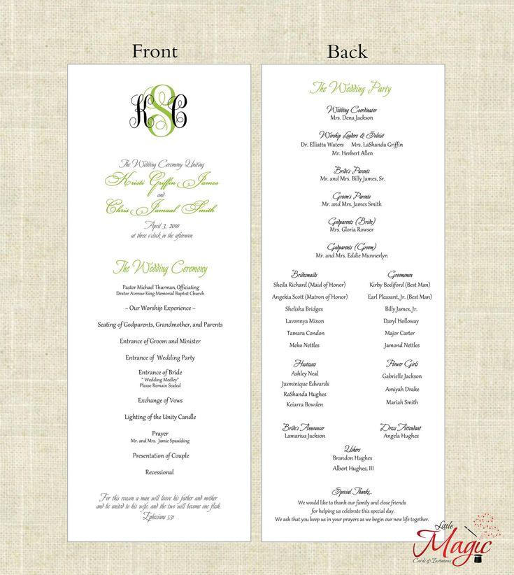 Church Program Free Printable Wedding Programs Templates - church program