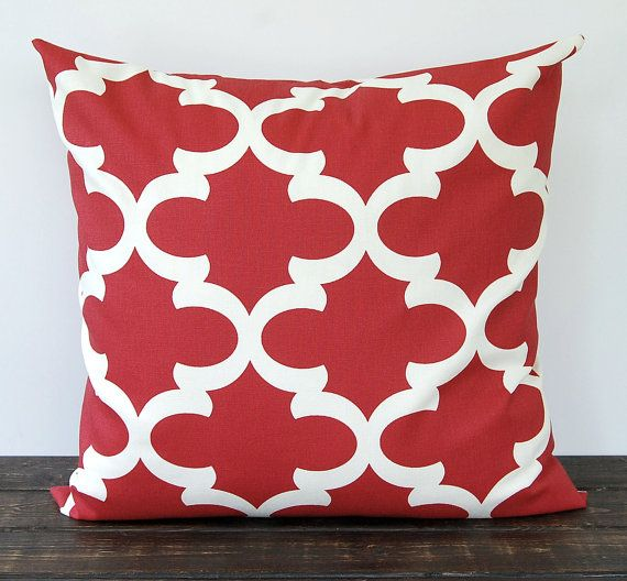 "Red throw pillow cover One 18"" x 18"" cushion cover red and ivory natural quatrefoil Moroccan pillow on Etsy, $17.00"