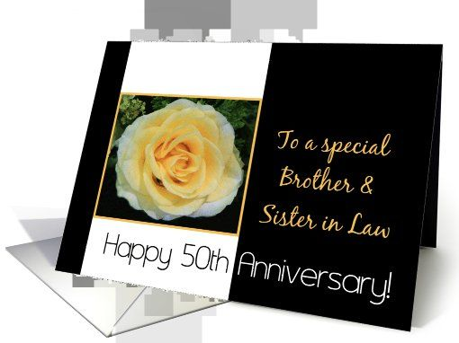Wedding Anniversary Gifts For Brother And Sister In Law : 50th Wedding Anniversary card for Brother and Sister in Law - Yellow ...