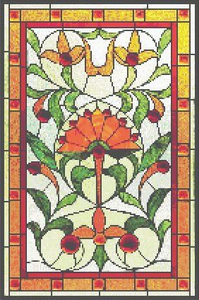 Cross Stitch Patterns - Stained Glass - Art Nouveau Lotus Stained Glass Cross Stitch Pattern