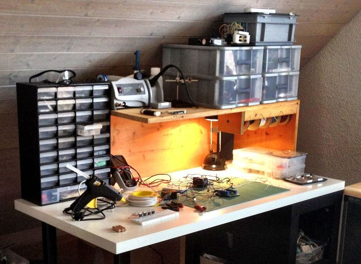 Workbench organizer for walls that run up into slanted roofs.