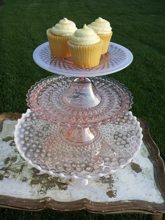 3 Tier Pink And Iridescent White Depression Glass Cake