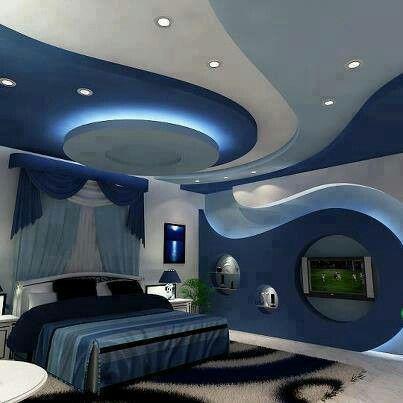 nautical bedroom ideas | Blue bedroom swirls