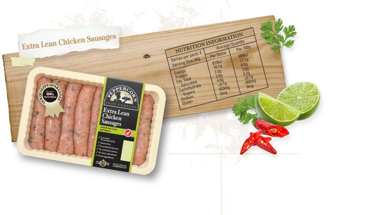 Peppercorn Food Company. Products. Sausage Range. Extra Lean Chicken Sausages (Double check, but believe these are okay)