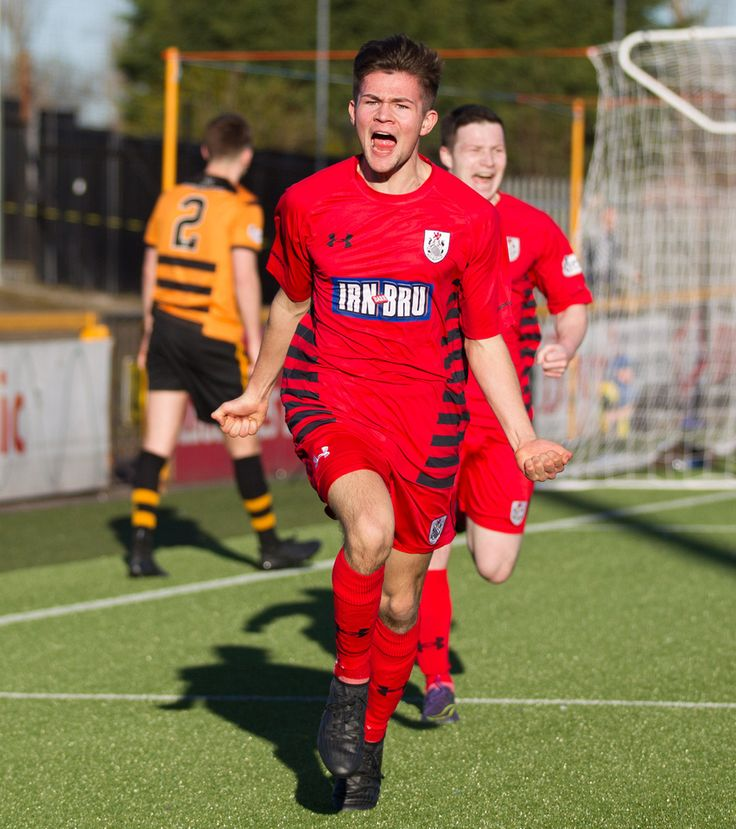 Queen's Park's Ewan MacPherson celebrate scoring during the Ladbrokes League One game between Alloa Athletic and Queen's Park.