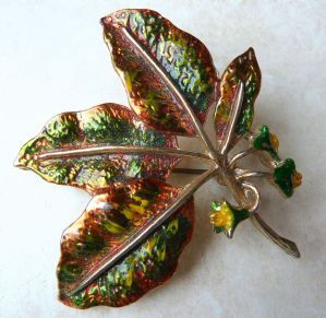Vintage cold painted enamel beech tree leaf and seed brooch, by vintage British designer Exquisite.