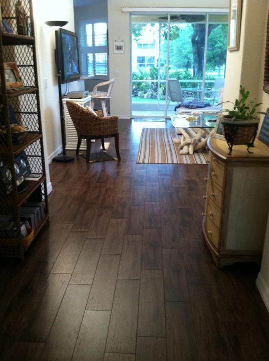 6x24 Walnut Porcelain Plank Tile Installation In A Condo