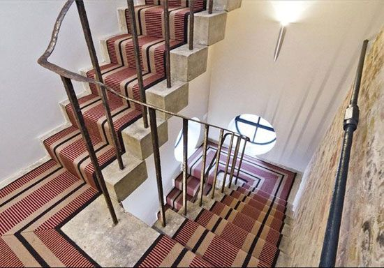Beautiful stone staircase.  The Water Tower conversion in Kennington, London, SE1