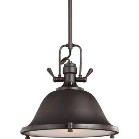 Luminaire suspendu de style industriel en métal au fini bronze fermé en dessous par un verre blanc givré. Idéal pour dînette, îlot ou salle à manger.