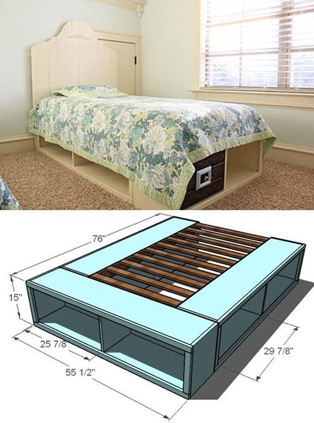 Twin Storage Bed   14 DIY Platform Beds