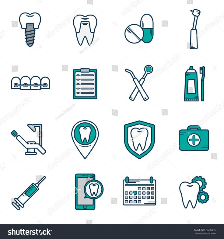 Set of vector icons in dental linear style. Icons for the web site dental clinic. Orthodontics, implants. Dental icons.