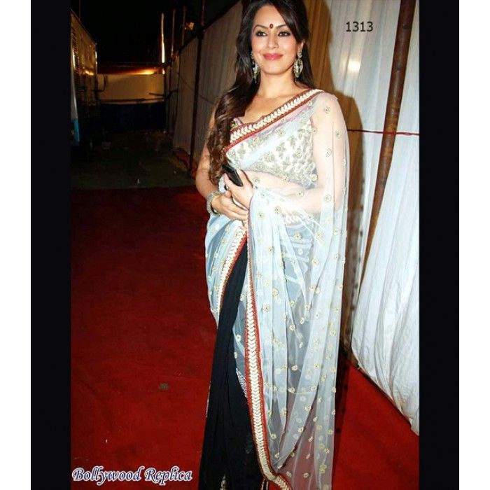 Color: White & Black Collection: Bollywood Replica Saree Fabric: Net, Chiffon Blouse Fabric:Dhupian Petticoat: Not Available